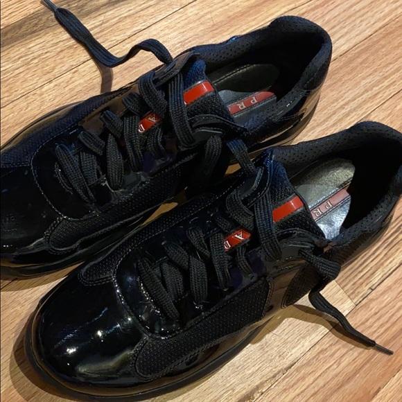 prada black patent leather sneakers